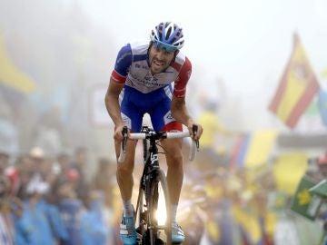 Thibaut Pinot, durante una etapa de la Vuelta