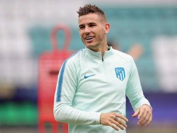 Lucas Hernández, en un entrenamiento con el Atlético de Madrid
