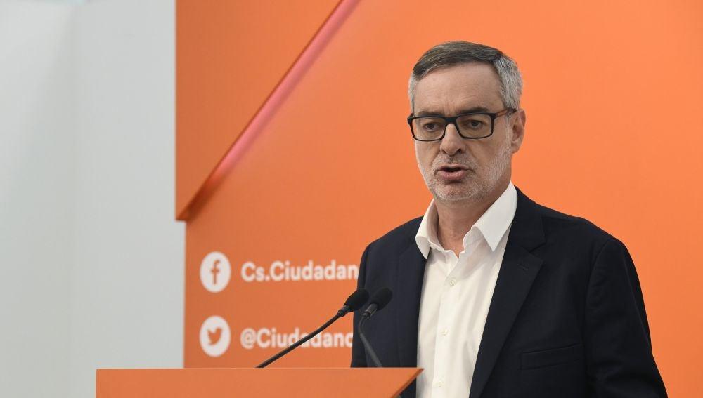 El secretario general de Ciudadanos, José Manuel Villegas, durante su comparecencia