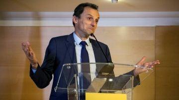 El ministro de Ciencia, Innovación y Universidades, Pedro Duque, en una rueda de prensa.