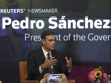 Pedro Sánchez ante los medios en Nueva York