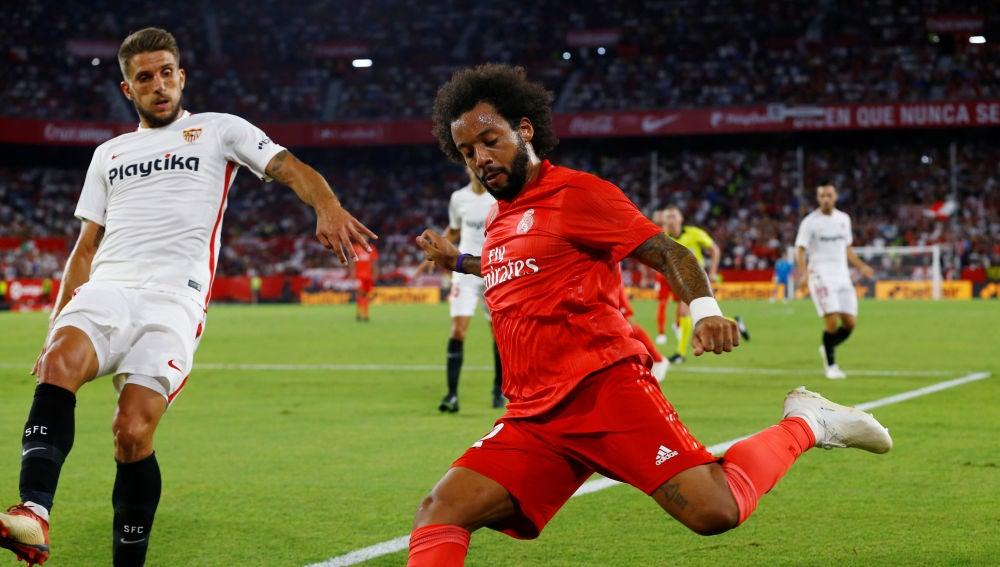 Marcelo, durante el partido contra el Sevilla