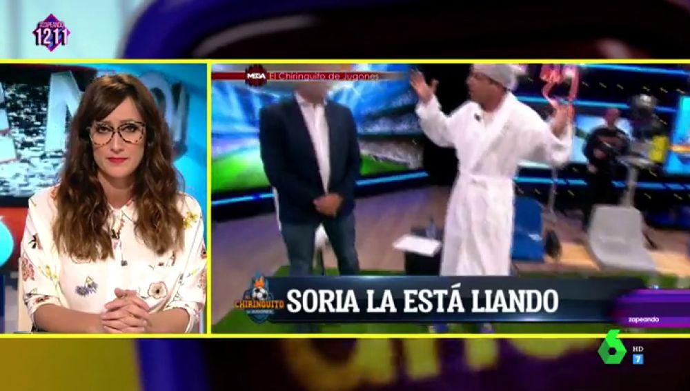 """Ana Morgade alucina con el momentazo de Soria en El Chiringuito: """"Gracias por llevar albornoz, no nos hacía falta ver a tu delantero centro"""""""