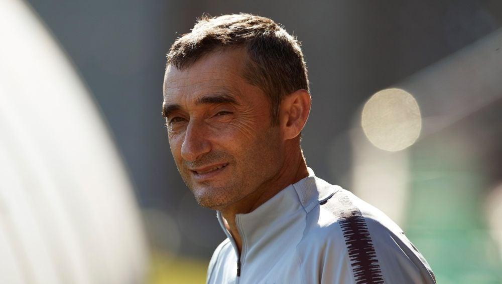 Valverde, antes del entrenamiento del Barça