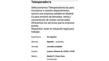 Empleo teleoperador precario