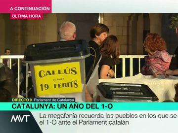 """""""Fuera Mossos fascistas"""", """"políticos sois unos traidores"""": los mensajes que aparecen junto a las urnas en el Parlament catalán"""