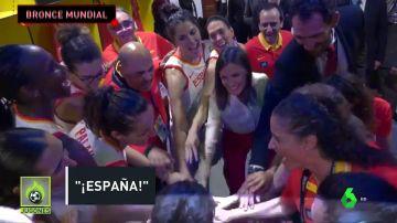 Fiesta con la Reina de España en el vestuario