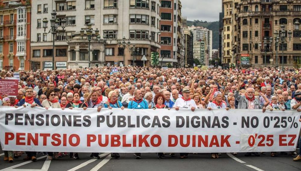 El Movimiento de Pensionistas de Bizkaia se manifiesta