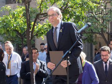 El presidente de la Generalitat, Quim Torra, durante el acto de apoyo a las personas afectadas por la actuación policial en el 1-O