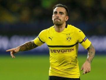 Paco Alcácer celebra su gol con el Borussia Dortmund