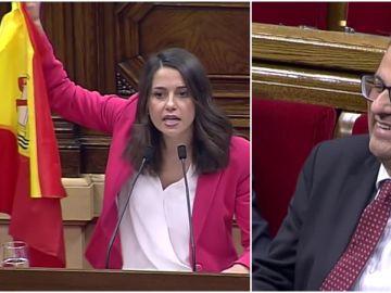 Inés Arrimadas saca una bandera de España en el pleno del Parlament