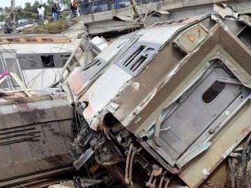Imagen del tren descarrilado en Marruecos