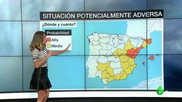 La mitad este de España, en situación potencialmente adversa por las lluvias: en Aragón se acumularán 180 litros por metro cuadrado