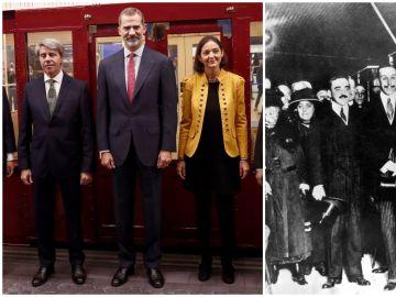 A la izquierda, Felipe VI en 2018; a la derecha, Alfonso XIII en 1919
