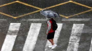 Una persona se protege de la lluvia con un paraguas.