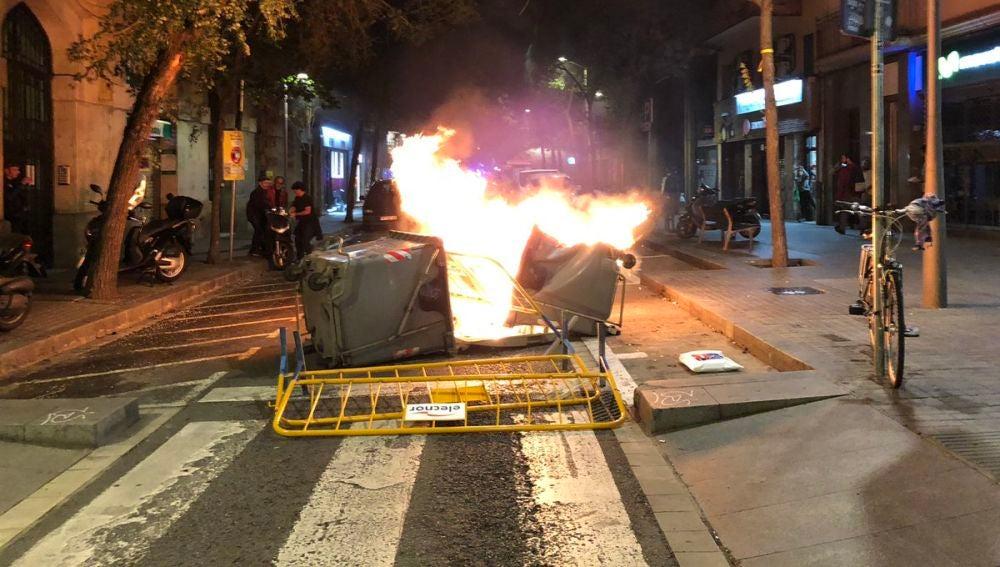 Barricada en la Diagonal de Barcelona