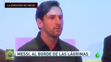 La emoción de Messi durante un acto contra el cáncer infantil