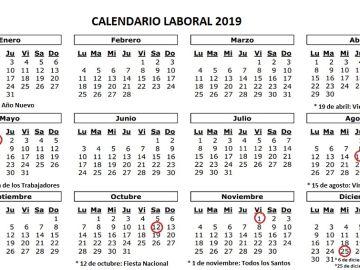 Imagen del calendario laboral de 2019