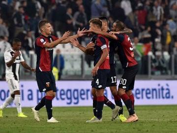 El Génova celebra un gol ante la Juventus