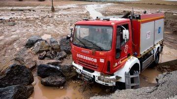 Camión en el que viajaba el bombero fallecido José Gil Gutiérrez