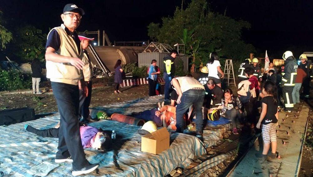 Imagen de Taiwán tras el accidente de tren