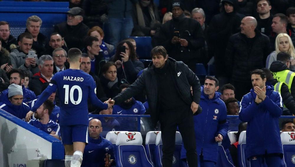 Hazard y Conte en el Chelsea