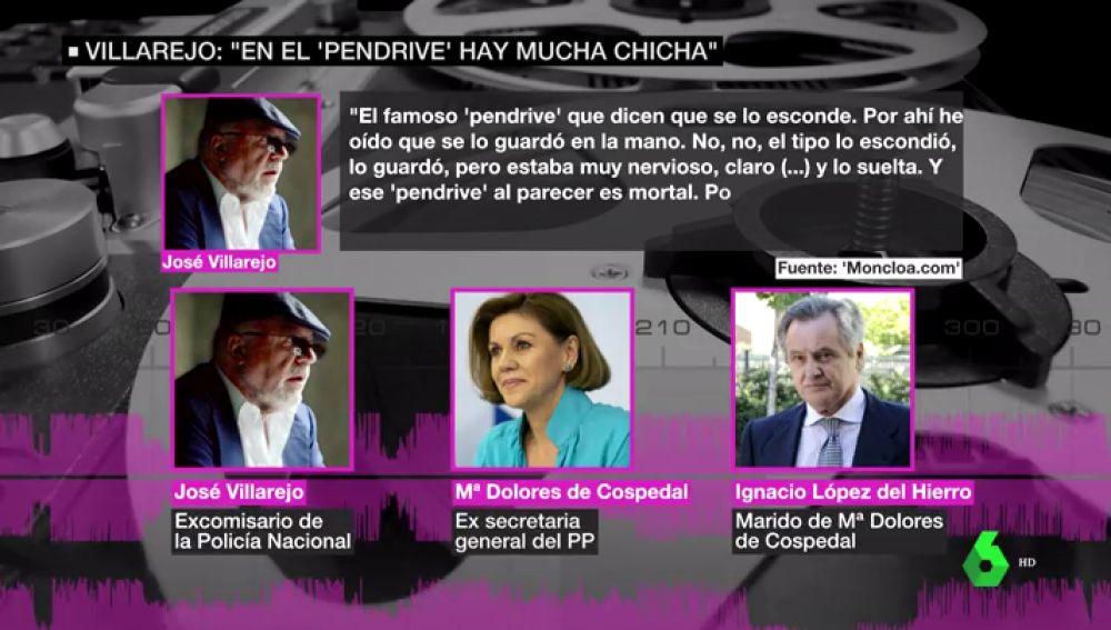 Villarejo le confesó a Cospedal que intentó destruir sin éxito un 'pendrive' clave en la Gürtel