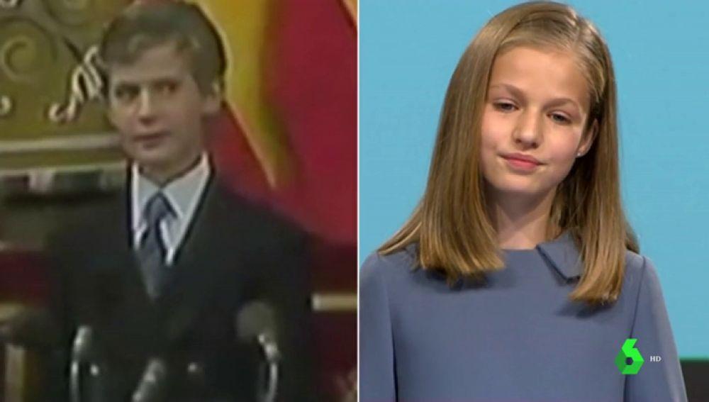 El príncipe no levantó la vista y su reconocimiento fue más cálido: diferencias entre los discursos de Leonor y del rey Felipe a los 13 años