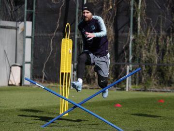 Messi, durante el entrenamiento del Barcelona