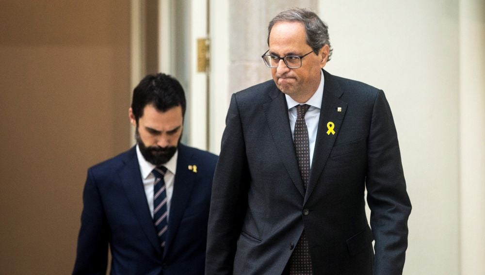 El presidente de la Generalitat de Cataluña, Quim Torra, y el del Parlamento, Roger Torrent