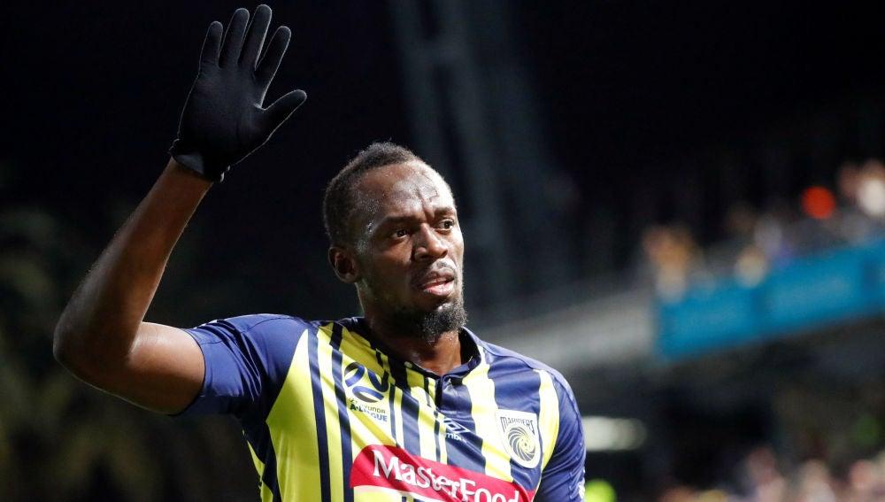 Usain Bolt, durante un partido con el Central Coast Mariners