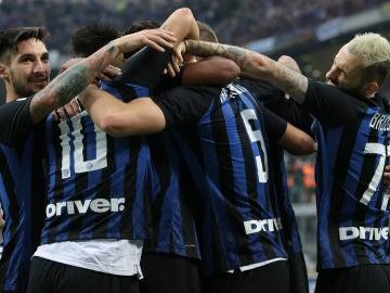 El Inter celebra un gol