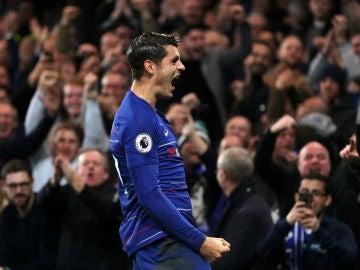 Morata celebra un gol con el Chelsea