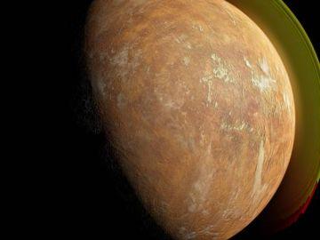Ilustración de una supertierra orbitando a la estrella de Barnard.