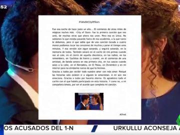 """Alfred zanja los rumores de separación con Amaia con una emotiva carta: """"Gracias por ser el acorde que completa mi canción"""""""