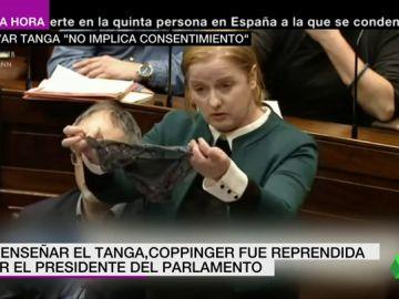 Una diputada muestra en el Parlamento irlandés un tanga en señal de protesta ante la sentencia de una violación