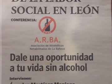 Imagen del anuncio en el que se publicita la charla sobre alcoholismo