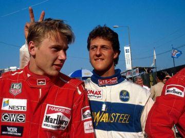 Michael Schumacher y Mika Häkkinen en 1990 en el GP de Macao
