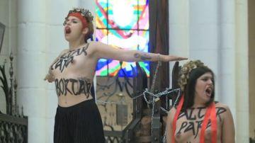 Acción de Femen en la Catedral de la Almudena