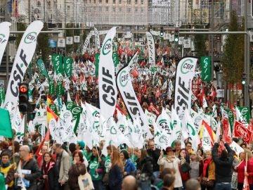 Vista de la manifestación celebrada en Madrid por funcionarios de justicia.