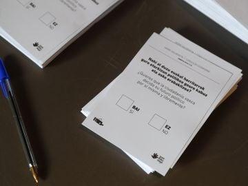 Detalle de las papeletas utilizadas durante la consulta sobre la autodeterminación