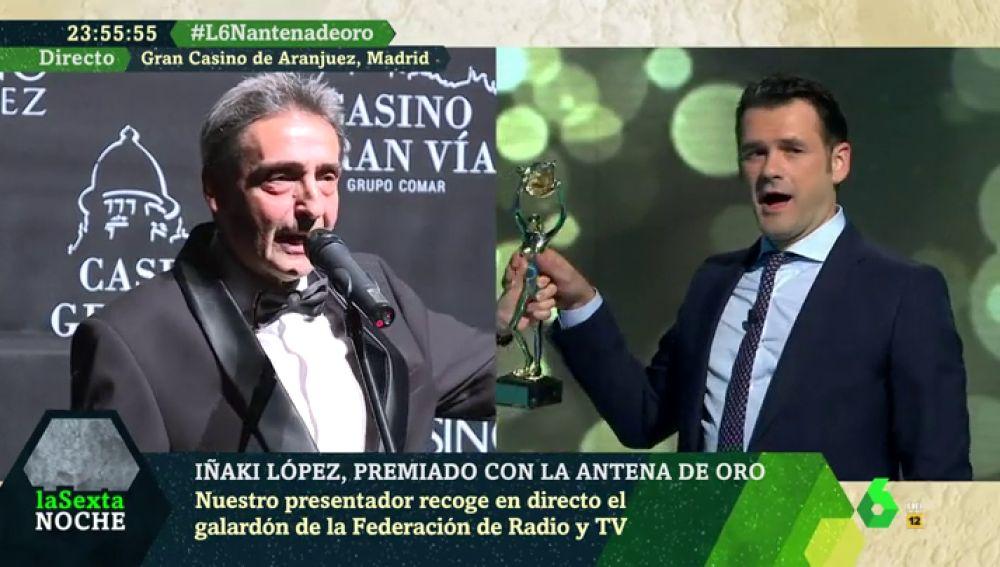 La entrega de la Antena de Oro como nunca la habías visto: así recogió Iñaki López su flamante premio en directo en laSexta Noche