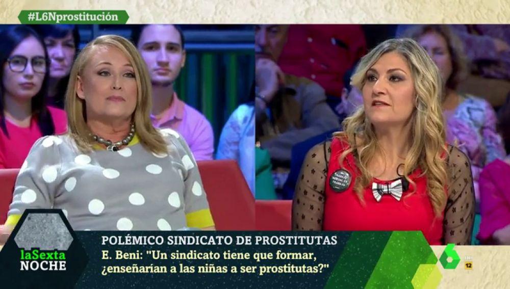 """Duro cara a cara entre Elisa Beni y la líder del sindicato de prostitutas OTRAS: """"Que te penetren 10 tíos por todos los agujeros todos los días no es un trabajo"""""""