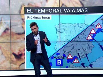 El temporal va a más y deja una situación preocupante en la Comunidad Valenciana donde llueve sobre mojado