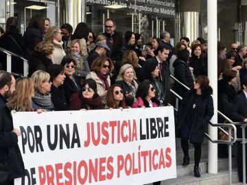 Vista de la concentración de los trabajadores de Justicia
