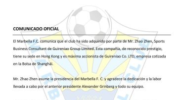El comunicado del Marbella anunciando la venta del equipo a Zhao Zhen