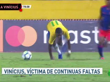 Cabezazos, provocaciones y patadas a Vinicius en un amistoso sub-20