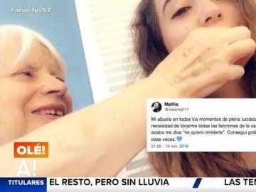 El emocionante gesto de una abuela con alzhéimer que no quiere olvidar la cara de su nieta