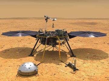 Recreación del lande InSight de la NASA posado en la superficie de la región marciana de Elysium Planitia