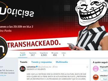 Imagen del perfil hackeado de La2 Noticias